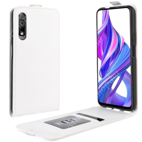 HUAWEI Honor 9X (For China market)SLIM FLIP tok - FEHÉR - lefelé nyíló, rejtett mágneses záródás, szilikon belső, bankkártya tartó, előlapi hangszóró nyílás - HUAWEI P smart Pro (2019) / HUAWEI Y9s / Honor 9X (For China market) / Honor 9X Pro (For China)