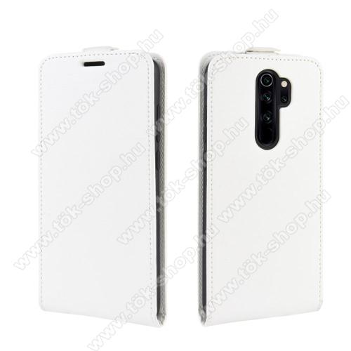 SLIM FLIP tok - FEHÉR - lefelé nyíló, rejtett mágneses záródás, szilikon belső, bankkártya tartó, előlapi hangszóró nyílás - Xiaomi Redmi Note 8 Pro
