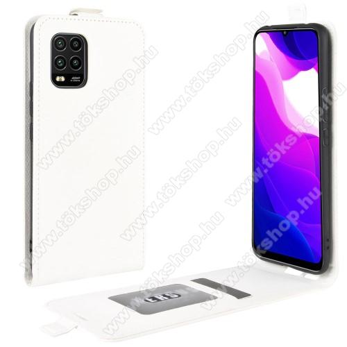 SLIM FLIP tok - FEHÉR - lefelé nyíló, rejtett mágneses záródás, szilikon belső, bankkártya tartó, előlapi hangszóró nyílás - Xiaomi Mi 10 Lite 5G / Xiaomi Mi 10 Youth 5G / Xiaomi Mi 10 Lite Zoom