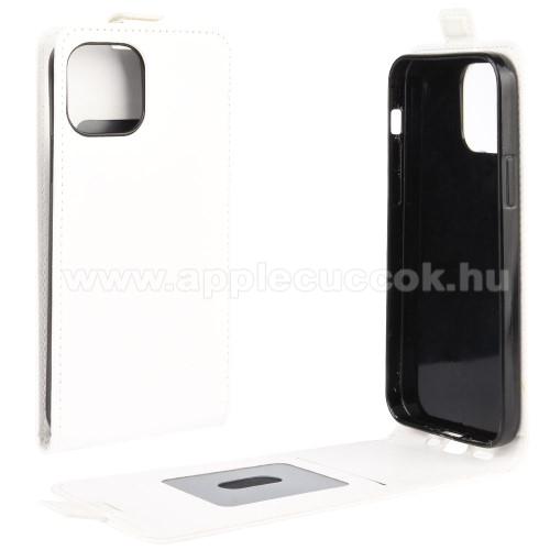SLIM FLIP tok - FEHÉR - lefelé nyíló, rejtett mágneses záródás, szilikon belső, bankkártya tartó, előlapi hangszóró nyílás - APPLE iPhone 12