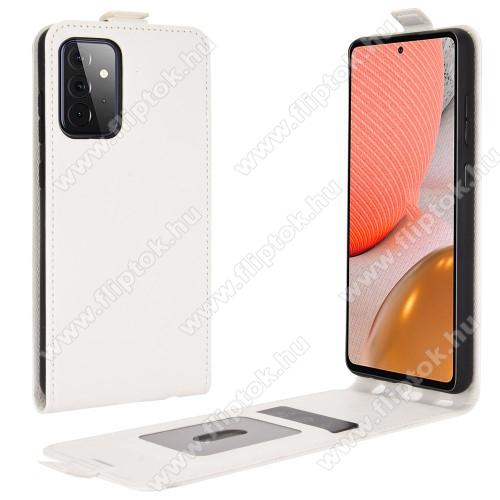SLIM FLIP tok - FEHÉR  - lefelé nyíló, rejtett mágneses záródás, szilikon belső, bankkártya tartó, előlapi hangszóró nyílás - SAMSUNG Galaxy A72 5G (SM-A726F) / Galaxy A72 4G (SM-A725F)