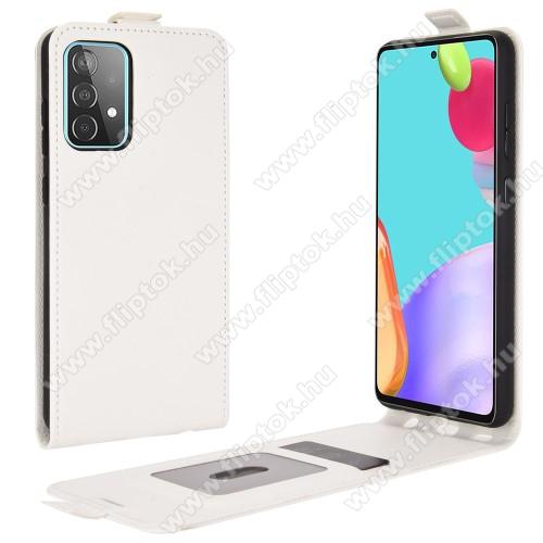 SLIM FLIP tok - FEHÉR - lefelé nyíló, rejtett mágneses záródás, szilikon belső, bankkártya tartó, előlapi hangszóró nyílás - SAMSUNG Galaxy A52 5G (SM-A526F) / Galaxy A52 4G (SM-A525F)