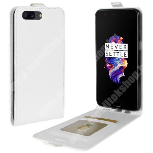 SLIM FLIP tok - FEHÉR - lefelé nyíló, rejtett mágneses záródás, szilikon belső, bankkártya tartó, előlapi hangszóró nyílás - OnePlus 5
