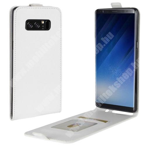 SLIM FLIP tok - FEHÉR - lefelé nyíló, rejtett mágneses záródás, szilikon belső, bankkártya tartó, előlapi hangszóró nyílás - SAMSUNG SM-N950F Galaxy Note8