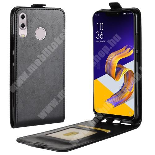 SLIM FLIP tok - FEKETE - lefelé nyíló, rejtett mágneses záródás, szilikon belső, bankkártya tartó, előlapi hangszóró nyílás - ASUS Zenfone 5z (ZS620KL) (2018) / ASUS Zenfone 5 (ZE620KL) (2018)