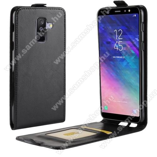 SAMSUNG SM-A605G Galaxy A6 Plus (2018)SLIM FLIP tok - FEKETE - lefelé nyíló, rejtett mágneses záródás, szilikon belső, bankkártya tartó, előlapi hangszóró nyílás - SAMSUNG SM-A605G Galaxy A6 Plus (2018)