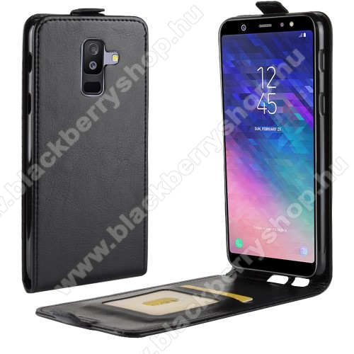 SLIM FLIP tok - FEKETE - lefelé nyíló, rejtett mágneses záródás, szilikon belső, bankkártya tartó, előlapi hangszóró nyílás - SAMSUNG SM-A605G Galaxy A6 Plus (2018)