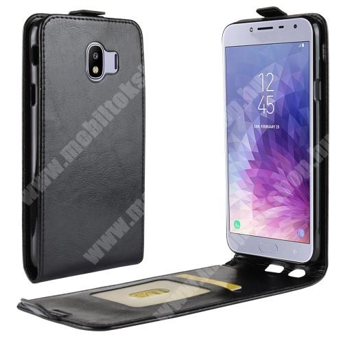 SLIM FLIP tok - FEKETE - lefelé nyíló, rejtett mágneses záródás, szilikon belső, bankkártya tartó, előlapi hangszóró nyílás - SAMSUNG SM-J400F Galaxy J4 (2018)