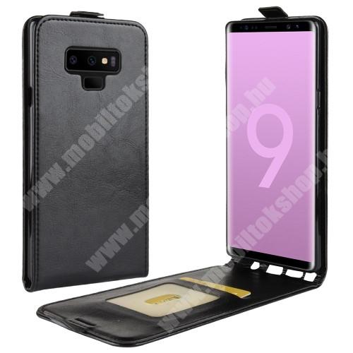 SLIM FLIP tok - FEKETE - lefelé nyíló, rejtett mágneses záródás, szilikon belső, bankkártya tartó, előlapi hangszóró nyílás - SAMSUNG Galaxy Note9