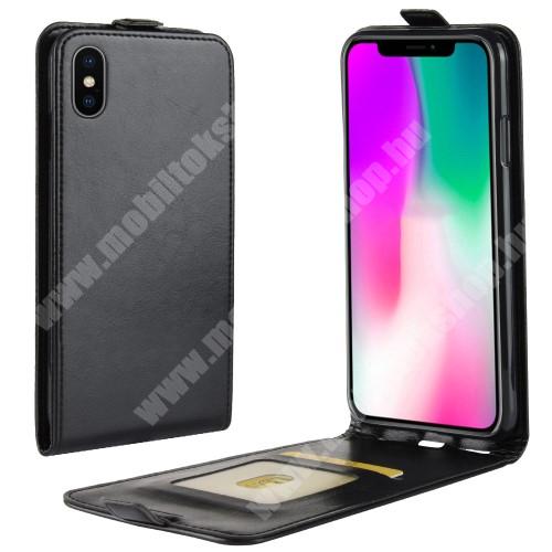 SLIM FLIP tok - FEKETE - lefelé nyíló, rejtett mágneses záródás, szilikon belső, bankkártya tartó, előlapi hangszóró nyílás - APPLE iPhone Xr