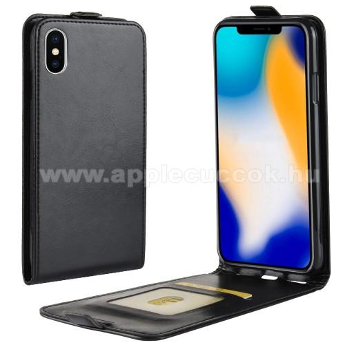 SLIM FLIP tok - FEKETE - lefelé nyíló, rejtett mágneses záródás, szilikon belső, bankkártya tartó, előlapi hangszóró nyílás - APPLE iPhone XS Max