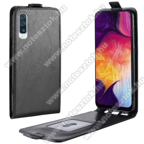 SLIM FLIP tok - FEKETE - lefelé nyíló, rejtett mágneses záródás, szilikon belső, bankkártya tartó, előlapi hangszóró nyílás - SAMSUNG SM-A307F Galaxy A30s / SAMSUNG SM-A505F Galaxy A50 / SAMSUNG Galaxy A50s