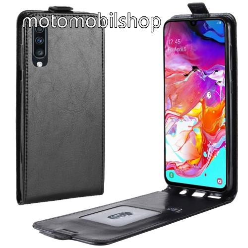 SLIM FLIP tok - FEKETE - lefelé nyíló, rejtett mágneses záródás, szilikon belső, bankkártya tartó, előlapi hangszóró nyílás - SAMSUNG SM-A705F Galaxy A70
