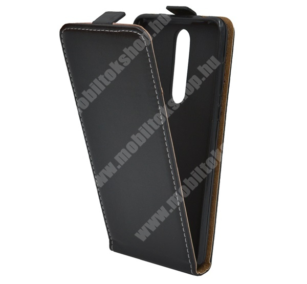 SLIM FLIP tok - FEKETE - lefelé nyíló, rejtett mágneses záródás, szilikon belső, bankkártya tartó - NOKIA 3.1 Plus