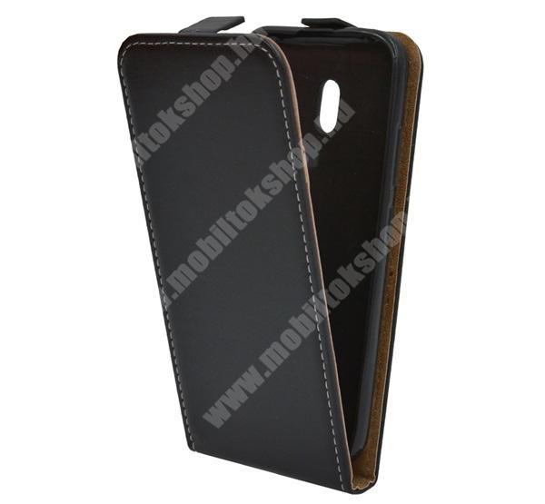 SLIM FLIP tok - FEKETE - lefelé nyíló, rejtett mágneses záródás, szilikon belső, bankkártya tartó - NOKIA 2.2