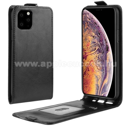 SLIM FLIP tok - FEKETE - lefelé nyíló, rejtett mágneses záródás, szilikon belső, bankkártya tartó, előlapi hangszóró nyílás - APPLE iPhone 11 Pro Max