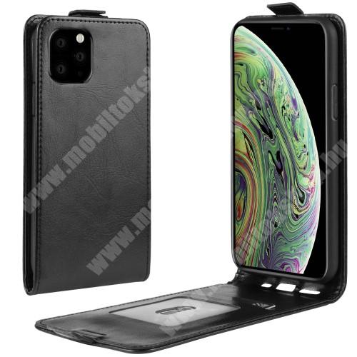 SLIM FLIP tok - FEKETE - lefelé nyíló, rejtett mágneses záródás, szilikon belső, bankkártya tartó, előlapi hangszóró nyílás - APPLE iPhone 11 Pro