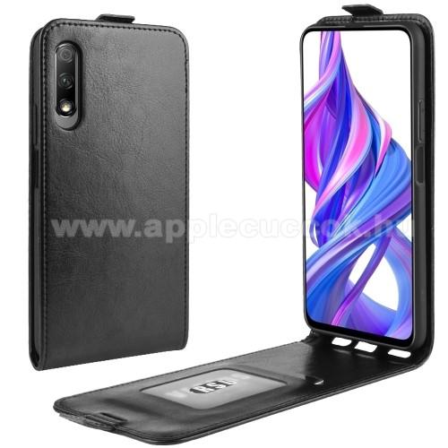 SLIM FLIP tok - FEKETE - lefelé nyíló, rejtett mágneses záródás, szilikon belső, bankkártya tartó, előlapi hangszóró nyílás - HUAWEI P smart Pro (2019) / HUAWEI Y9s / Honor 9X (For China market) / Honor 9X Pro (For China)