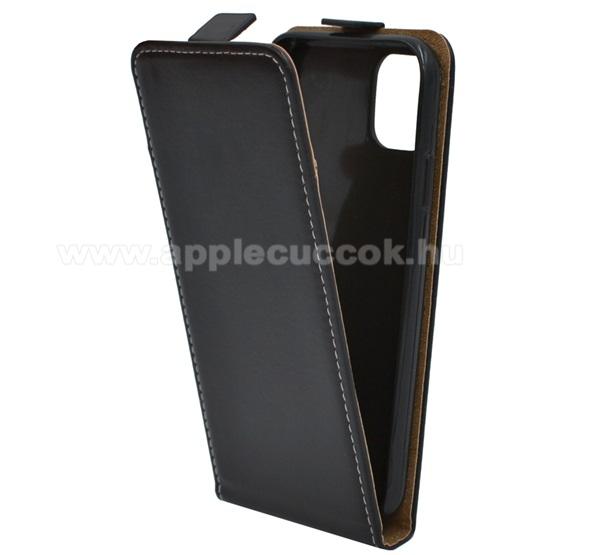 SLIM FLIP tok - FEKETE - lefelé nyíló, rejtett mágneses záródás, szilikon belső - APPLE iPhone 11 Pro
