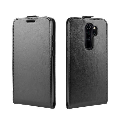 SLIM FLIP tok - FEKETE - lefelé nyíló, rejtett mágneses záródás, szilikon belső, bankkártya tartó, előlapi hangszóró nyílás - Xiaomi Redmi Note 8 Pro