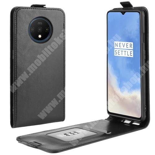 SLIM FLIP tok - FEKETE - lefelé nyíló, rejtett mágneses záródás, szilikon belső, bankkártya tartó, előlapi hangszóró nyílás - OnePlus 7T