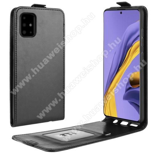 SLIM FLIP tok - FEKETE - lefelé nyíló, rejtett mágneses záródás, szilikon belső, bankkártya tartó, előlapi hangszóró nyílás - SAMSUNG Galaxy A51 (SM-A515F)