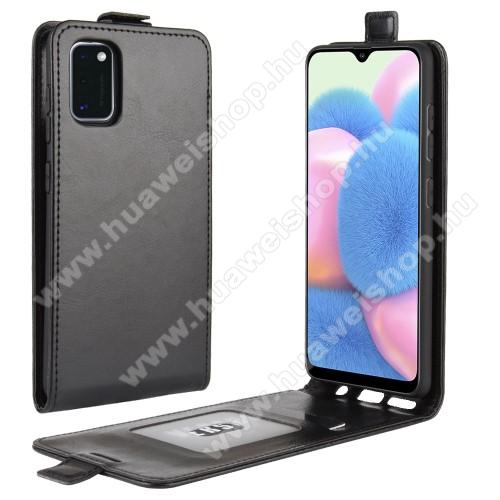 SLIM FLIP tok - FEKETE - lefelé nyíló, rejtett mágneses záródás, szilikon belső, bankkártya tartó, előlapi hangszóró nyílás - SAMSUNG Galaxy A41 (SM-A415F)