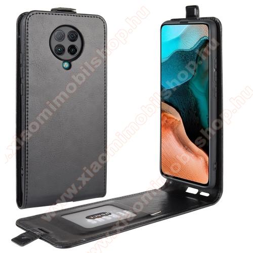 SLIM FLIP tok - FEKETE - lefelé nyíló, rejtett mágneses záródás, szilikon belső, bankkártya tartó, előlapi hangszóró nyílás - Xiaomi Redmi K30 Pro / Xiaomi Redmi K30 Pro Zoom / Xiaomi Poco F2 Pro