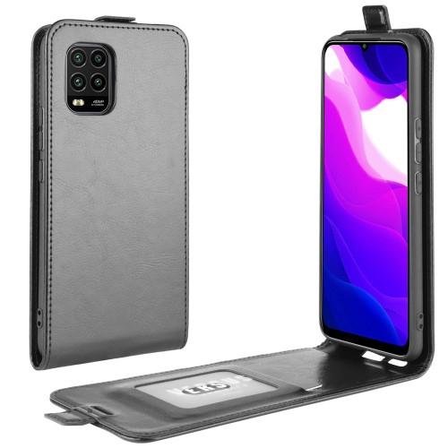 SLIM FLIP tok - FEKETE - lefelé nyíló, rejtett mágneses záródás, szilikon belső, bankkártya tartó, előlapi hangszóró nyílás - Xiaomi Mi 10 Lite 5G / Xiaomi Mi 10 Youth 5G / Xiaomi Mi 10 Lite Zoom