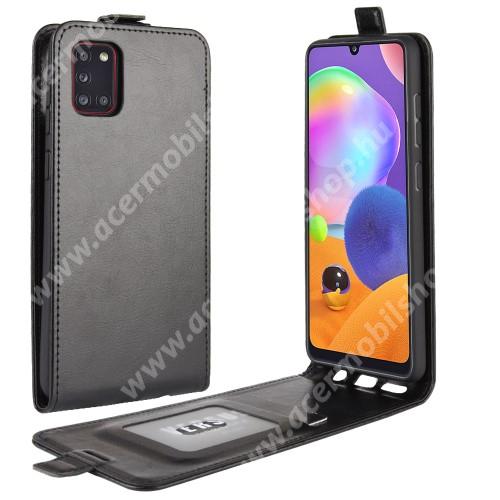 SLIM FLIP tok - FEKETE - lefelé nyíló, rejtett mágneses záródás, szilikon belső, bankkártya tartó, előlapi hangszóró nyílás - SAMSUNG Galaxy A31 (SM-A315F)