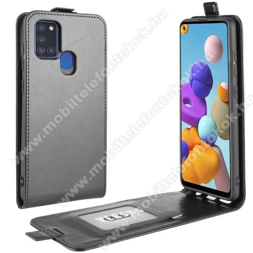SLIM FLIP tok - FEKETE - lefelé nyíló, rejtett mágneses záródás, szilikon belső, bankkártya tartó, előlapi hangszóró nyílás - SAMSUNG Galaxy A21s (SM-A217F/DS)