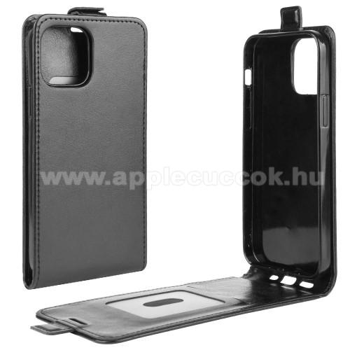 SLIM FLIP tok - FEKETE - lefelé nyíló, rejtett mágneses záródás, szilikon belső, bankkártya tartó, előlapi hangszóró nyílás - APPLE iPhone 12 mini