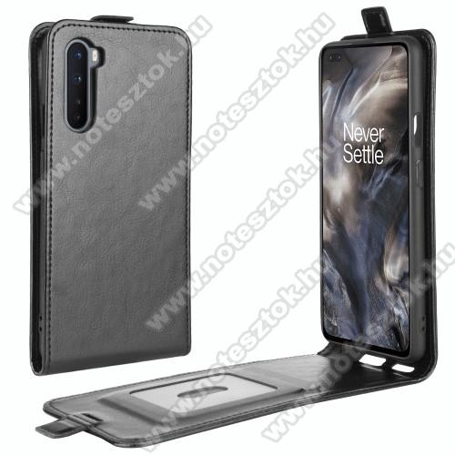 SLIM FLIP tok - FEKETE - lefelé nyíló, rejtett mágneses záródás, szilikon belső, bankkártya tartó, előlapi hangszóró nyílás - OnePlus Nord
