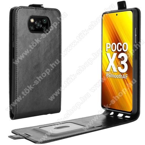 SLIM FLIP tok - FEKETE - lefelé nyíló, rejtett mágneses záródás, szilikon belső, bankkártya tartó, előlapi hangszóró nyílás - Xiaomi Poco X3 / Poco X3 NFC / Poco X3 Pro