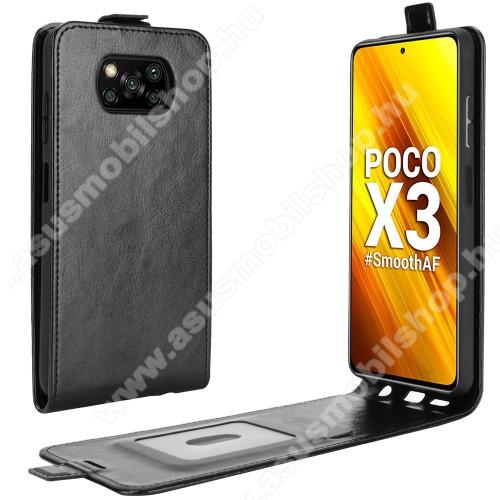 SLIM FLIP tok - FEKETE - lefelé nyíló, rejtett mágneses záródás, szilikon belső, bankkártya tartó, előlapi hangszóró nyílás - Xiaomi Poco X3 / Poco X3 NFC