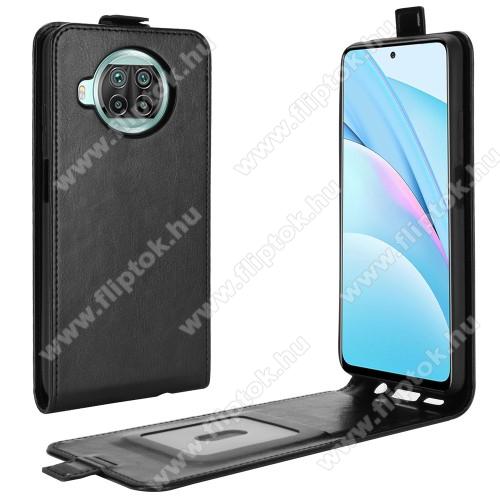 SLIM FLIP tok - FEKETE - lefelé nyíló, rejtett mágneses záródás, szilikon belső, bankkártya tartó, előlapi hangszóró nyílás - Xiaomi Mi 10T Lite 5G / Redmi Note 9 Pro 5G / Mi 10i 5G