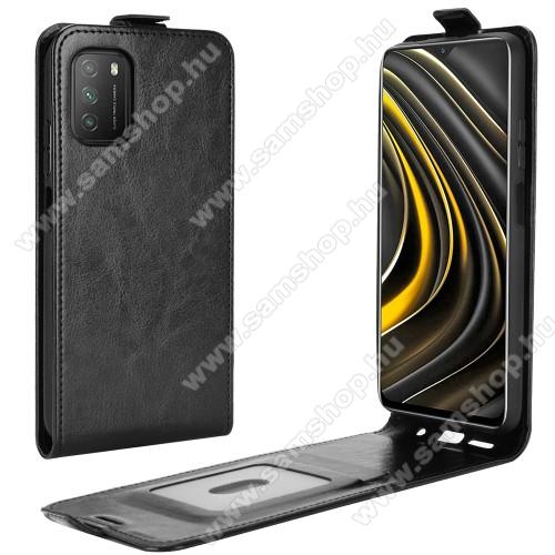 SLIM FLIP tok - FEKETE - lefelé nyíló, rejtett mágneses záródás, szilikon belső, bankkártya tartó, előlapi hangszóró nyílás - Xiaomi Poco M3 / Redmi 9T / Redmi 9 Power