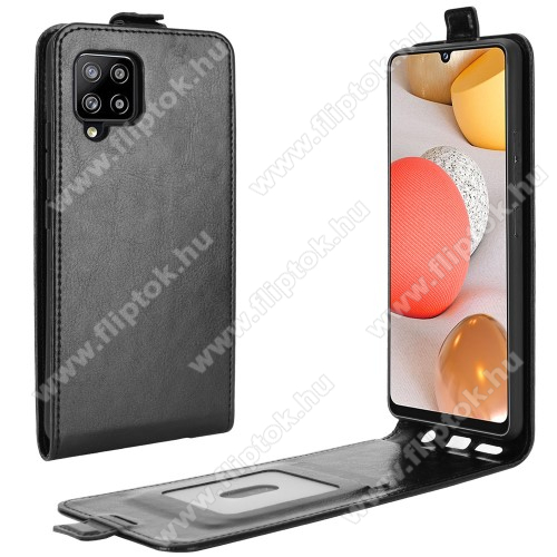 SLIM FLIP tok - FEKETE - lefelé nyíló, rejtett mágneses záródás, szilikon belső, bankkártya tartó, előlapi hangszóró nyílás - SAMSUNG Galaxy A42 5G (SM-A425F)