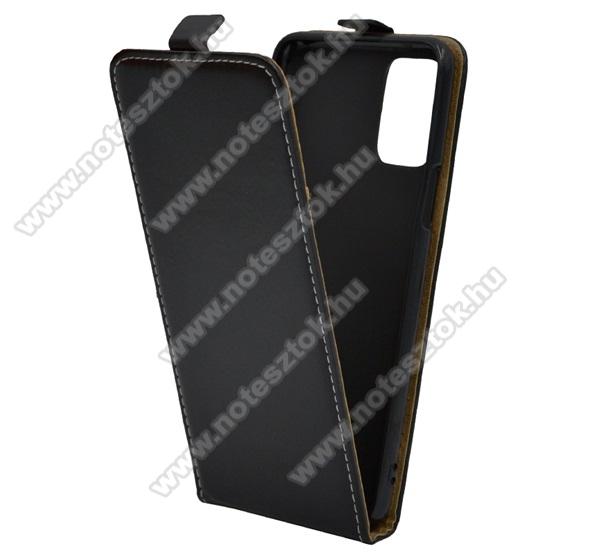 SLIM FLIP tok - FEKETE - lefelé nyíló, rejtett mágneses záródás, szilikon belső - LG K62 / LG Q52 / LG K52