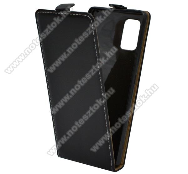 SLIM FLIP tok - FEKETE - lefelé nyíló, rejtett mágneses záródás, szilikon belső - SAMSUNG Galaxy A71 5G (SM-A716F)