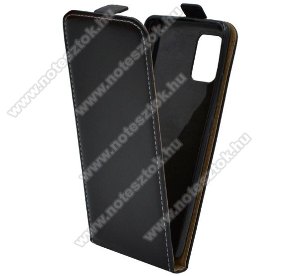 SLIM FLIP tok - FEKETE - lefelé nyíló, rejtett mágneses záródás, szilikon belső - SAMSUNG Galaxy A51 5G (SM-A516F)