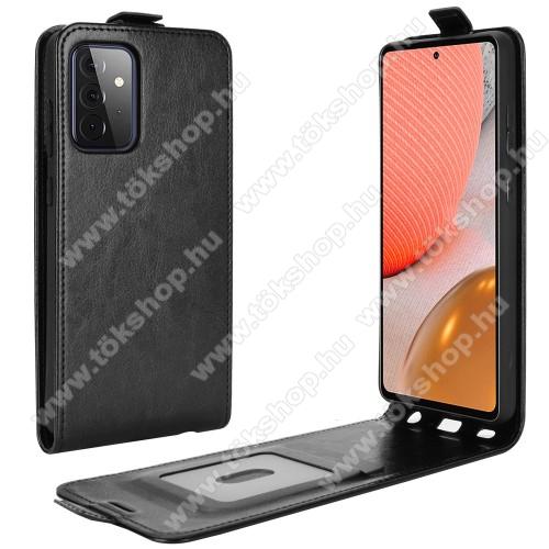 SLIM FLIP tok - FEKETE - lefelé nyíló, rejtett mágneses záródás, szilikon belső, bankkártya tartó, előlapi hangszóró nyílás - SAMSUNG Galaxy A72 5G (SM-A726F) / Galaxy A72 4G (SM-A725F)