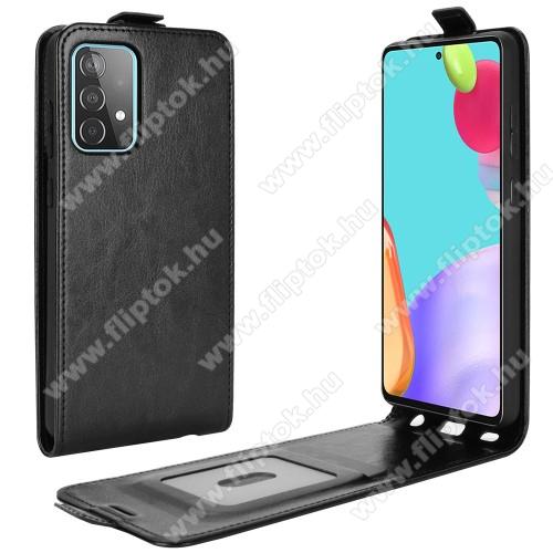 SLIM FLIP tok - FEKETE - lefelé nyíló, rejtett mágneses záródás, szilikon belső, bankkártya tartó, előlapi hangszóró nyílás - SAMSUNG Galaxy A52 5G (SM-A526F) / Galaxy A52 4G (SM-A525F)