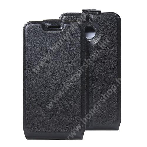 SLIM FLIP tok - FEKETE - lefelé nyíló, rejtett mágneses záródás, szilikon belső, bankkártya tartó, előlapi hangszóró nyílás - VODAFONE Smart mini 7