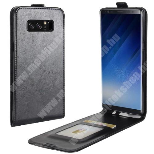 SLIM FLIP tok - FEKETE - lefelé nyíló, rejtett mágneses záródás, szilikon belső, bankkártya tartó, előlapi hangszóró nyílás - SAMSUNG SM-N950F Galaxy Note8