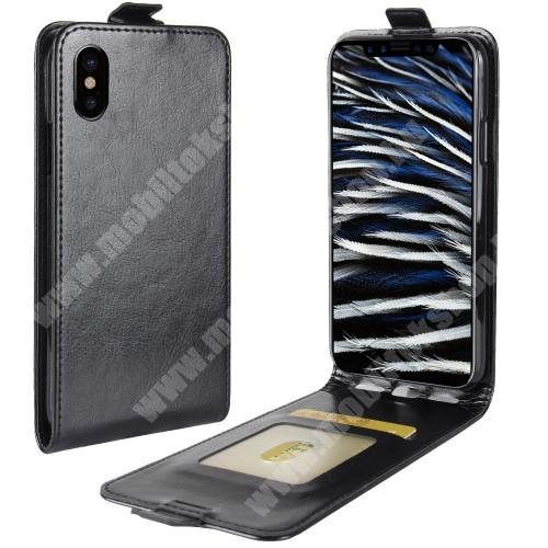 SLIM FLIP tok - FEKETE - lefelé nyíló, rejtett mágneses záródás, bankkártya tartó zseb, szilikon belső - APPLE iPhone X