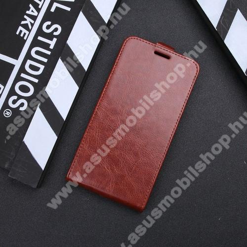 SLIM FLIP tok - lefelé nyíló, rejtett mágneses záródás, bankkártya tartó zseb, szilikon belső - BARNA - ASUS Zenfone 4 Pro (ZS551KL)
