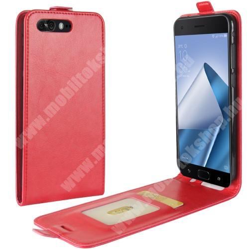 SLIM FLIP tok - lefelé nyíló, rejtett mágneses záródás, bankkártya tartó zseb, szilikon belső - PIROS - ASUS Zenfone 4 Pro (ZS551KL)