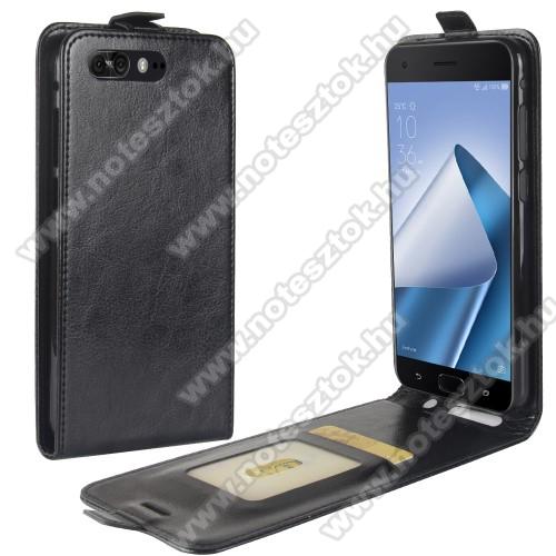 SLIM FLIP tok - lefelé nyíló, rejtett mágneses záródás, bankkártya tartó zseb, szilikon belső - FEKETE - ASUS Zenfone 4 Pro (ZS551KL)