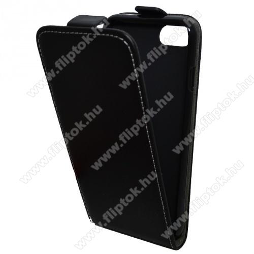 SLIM FLIP tok - lefelé nyíló, rejtett mágneses záródás, szilikon belső - FEKETE - APPLE iPhone 7 / APPLE iPhone 8